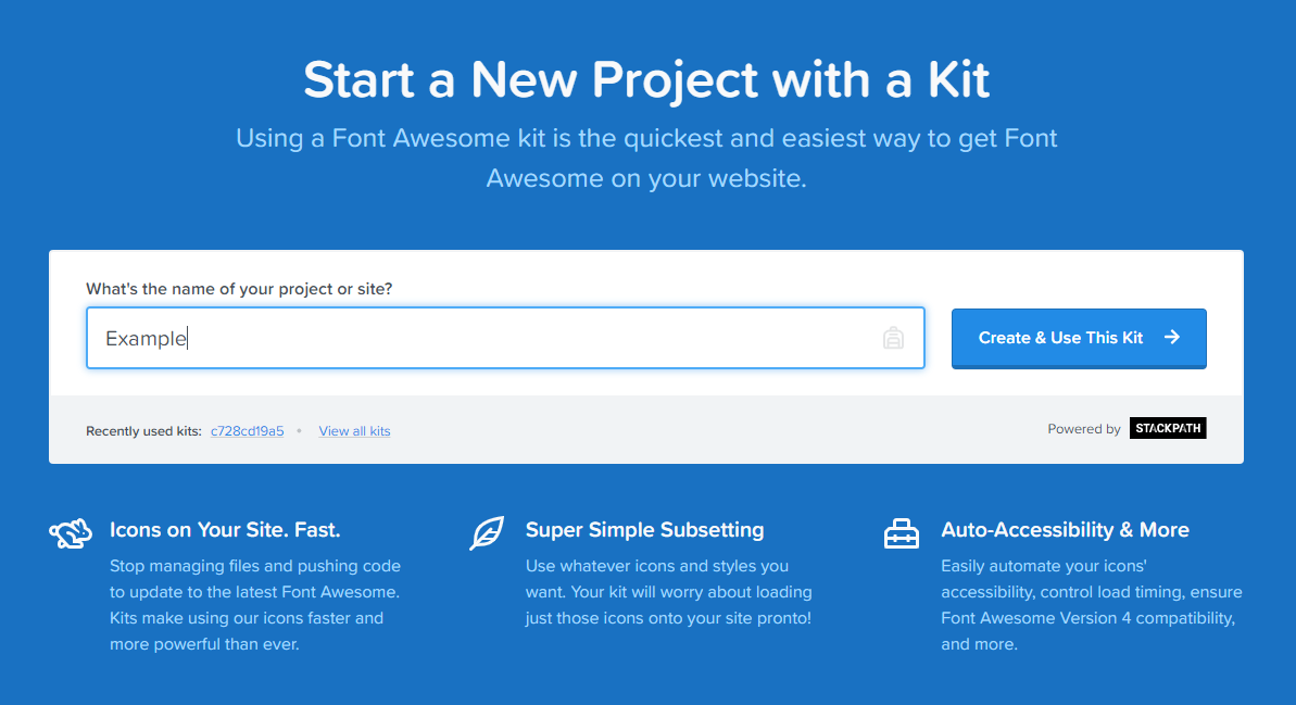Sign up for Font Awesome