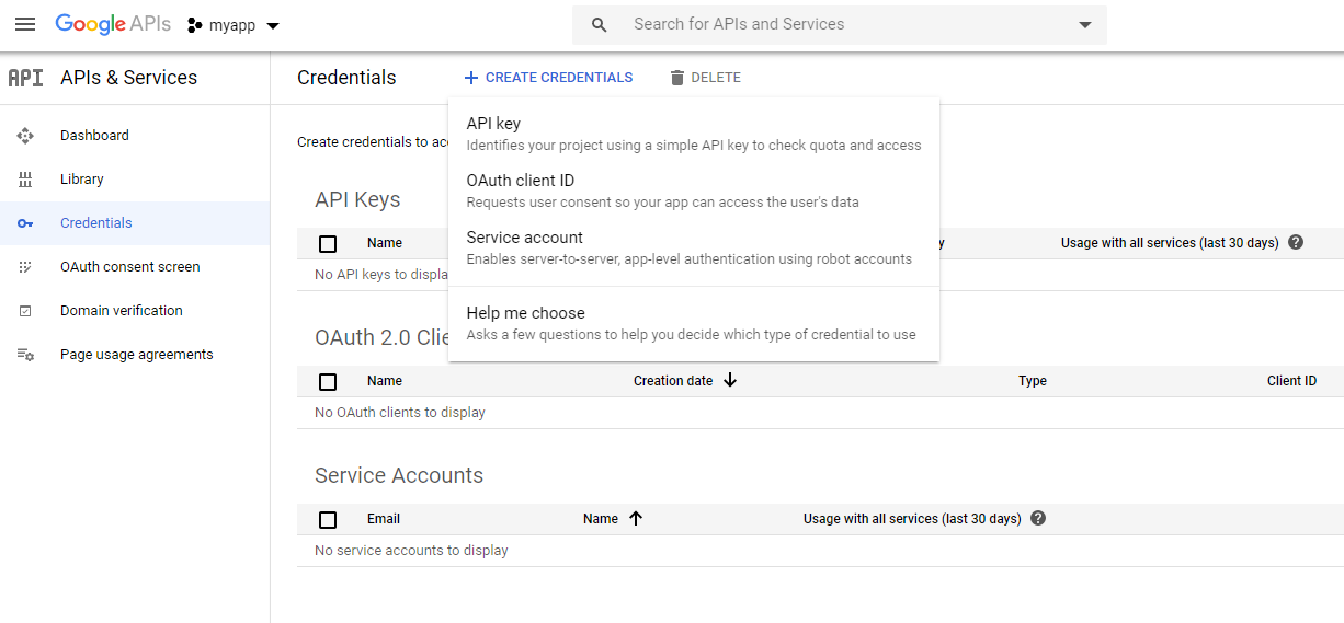google oauth credentials
