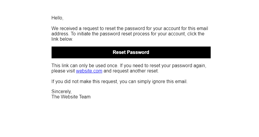 Reset Password email as an HTML template
