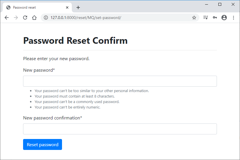 Custom confirm password form