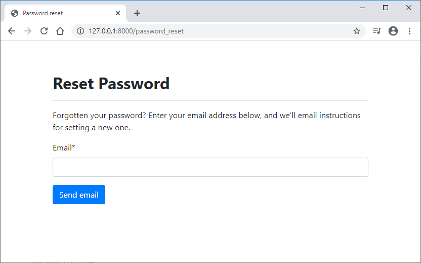 Custom Password reset form