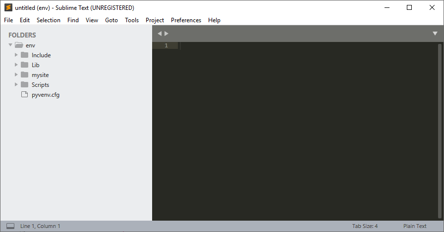 Virtual environment opened in Sublime