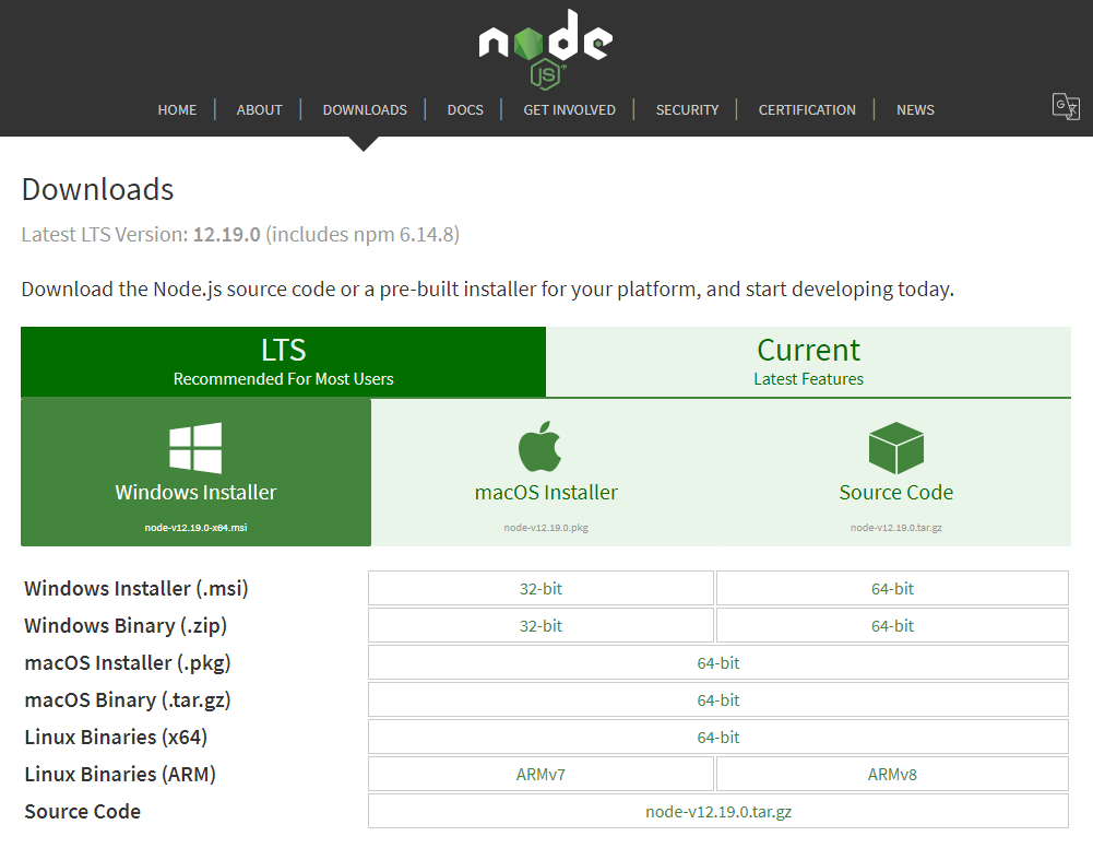 Node.js Windows Install