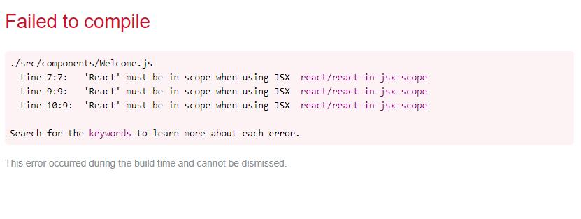 React Error page