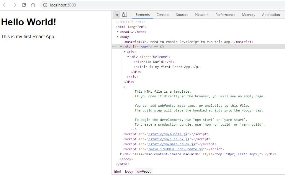 React App in Developer Tools