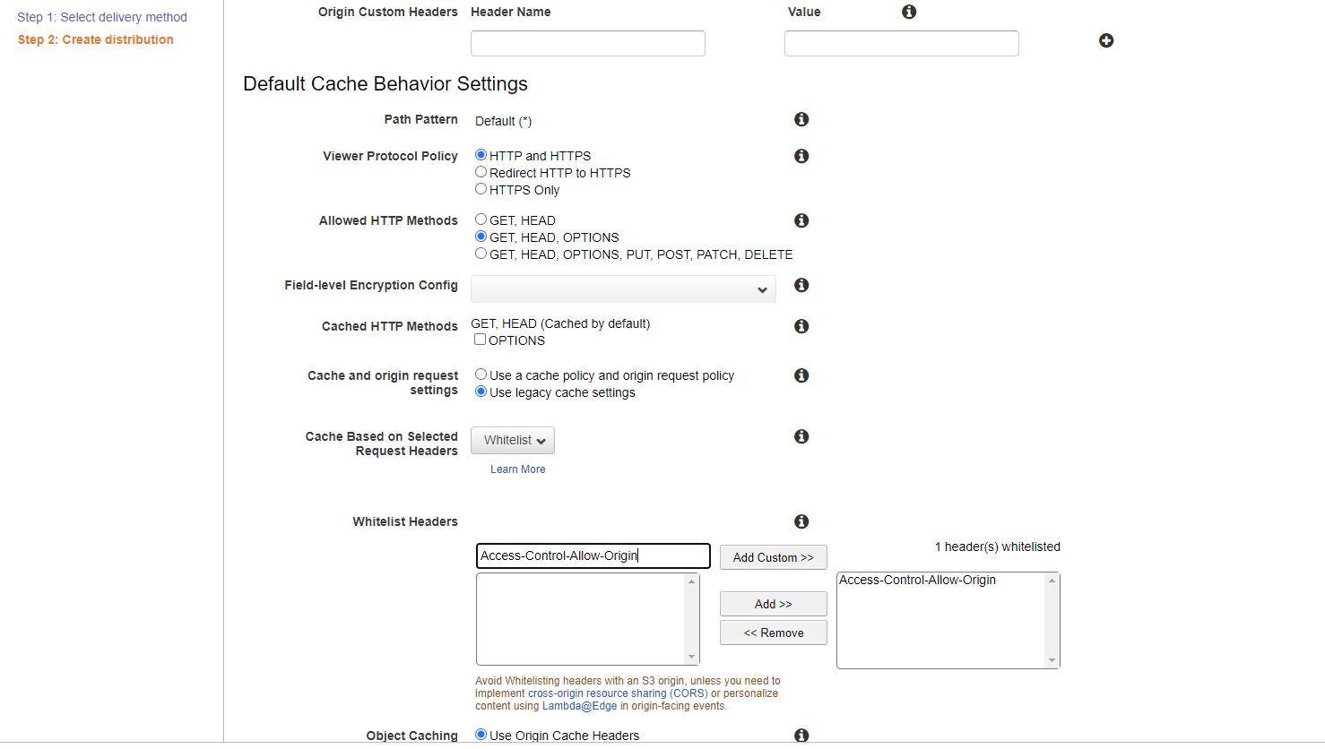 AWS CloudFront Default Cache