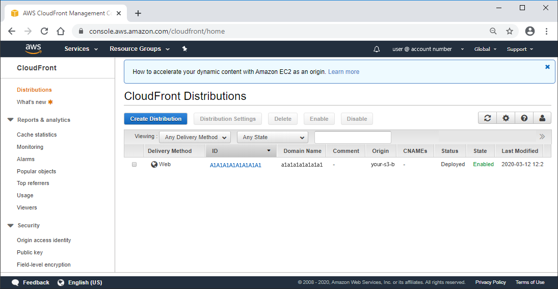AWS CloudFront deployed