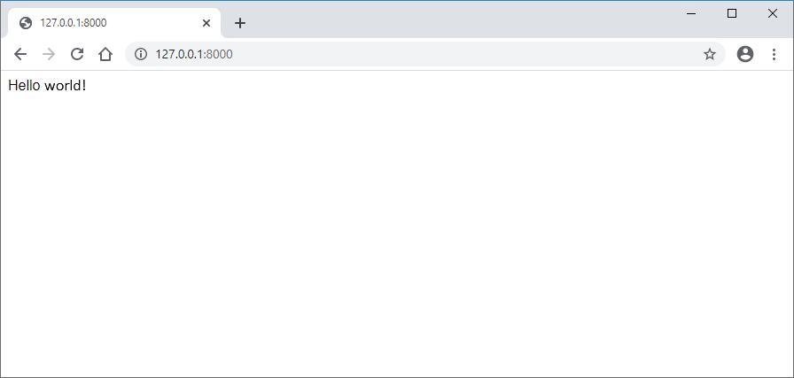 Django configured project in browser