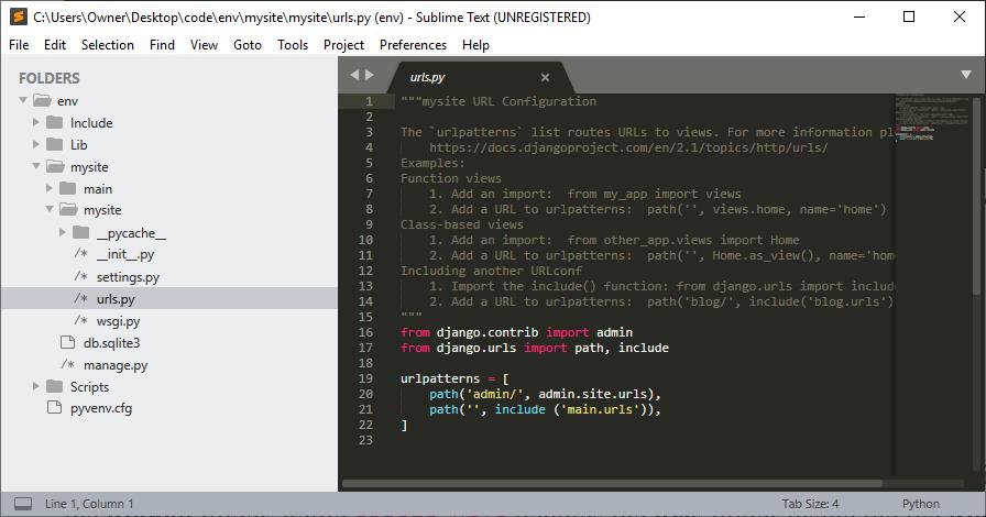 Editing mysite >urls.py