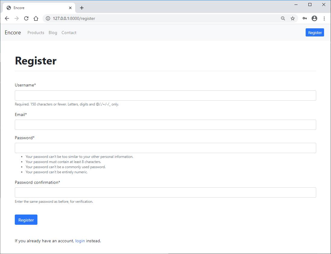 Django crispy forms register page