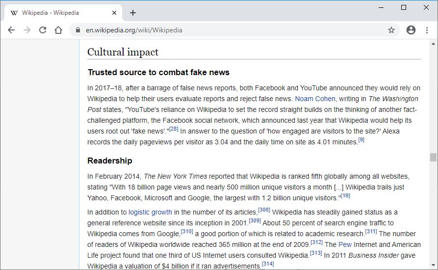 wikipedia.com single column