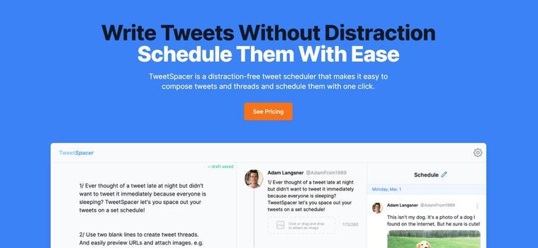 Walkthrough: TweetSpacer - Schedule Tweets and Easily Create Threads
