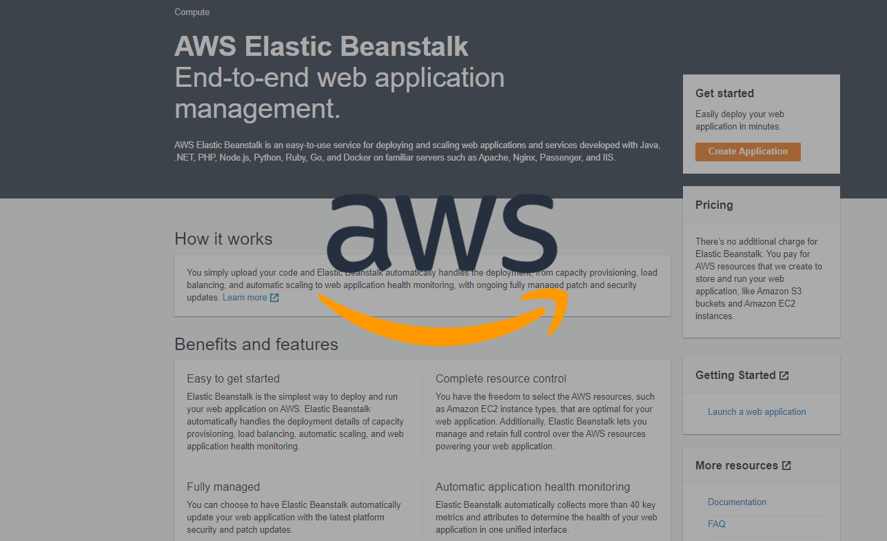 Deploying from AWS Elastic Beanstalk Console
