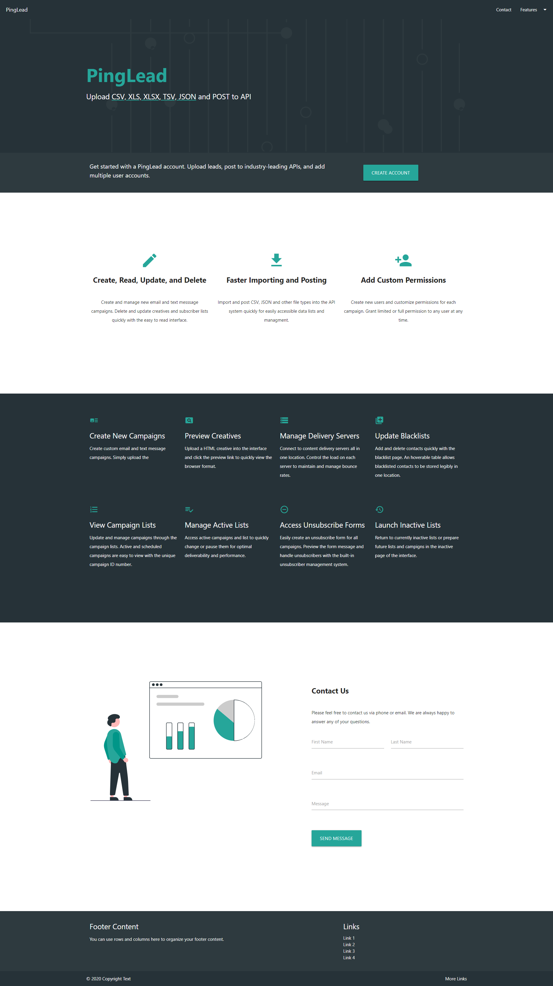 Landing Page for Lead Management System