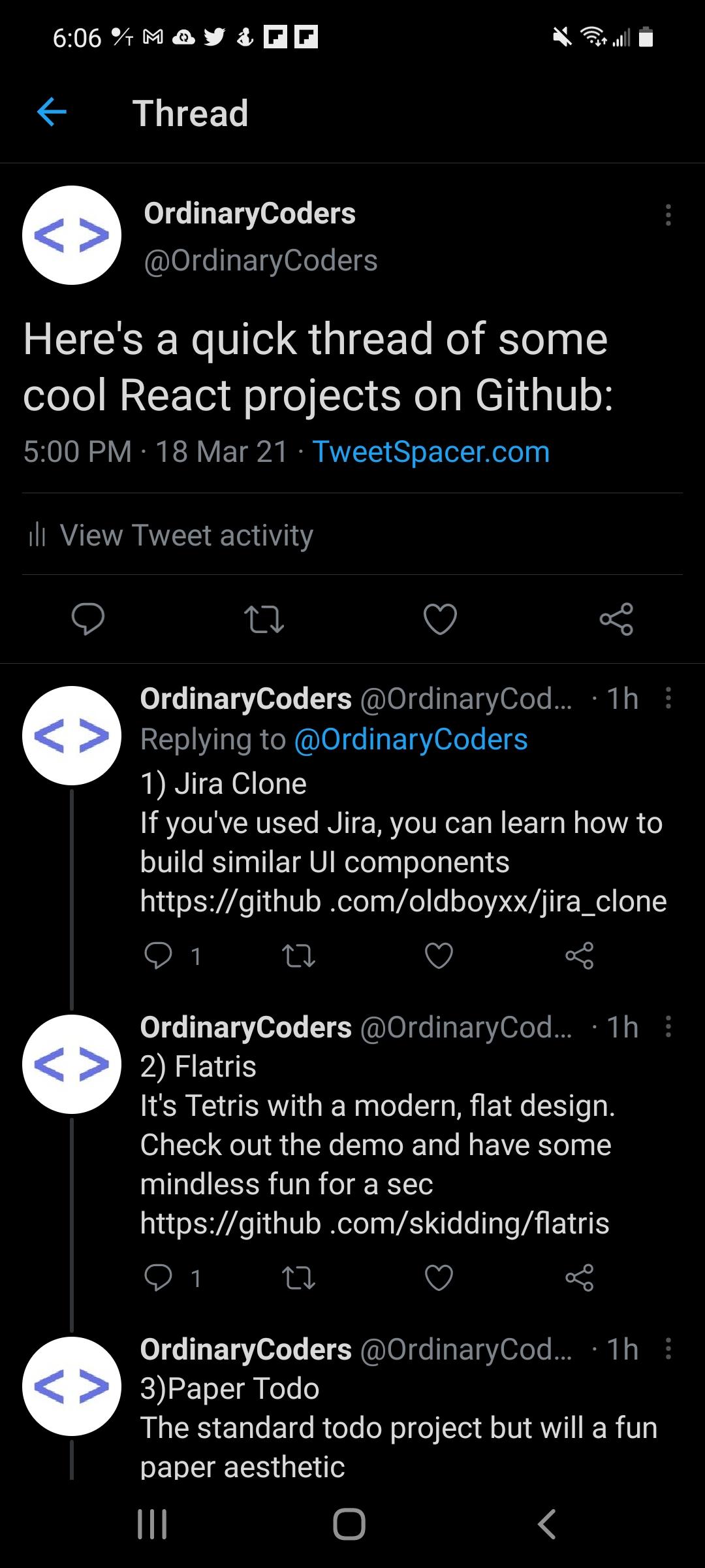 tweet spacer screen shot