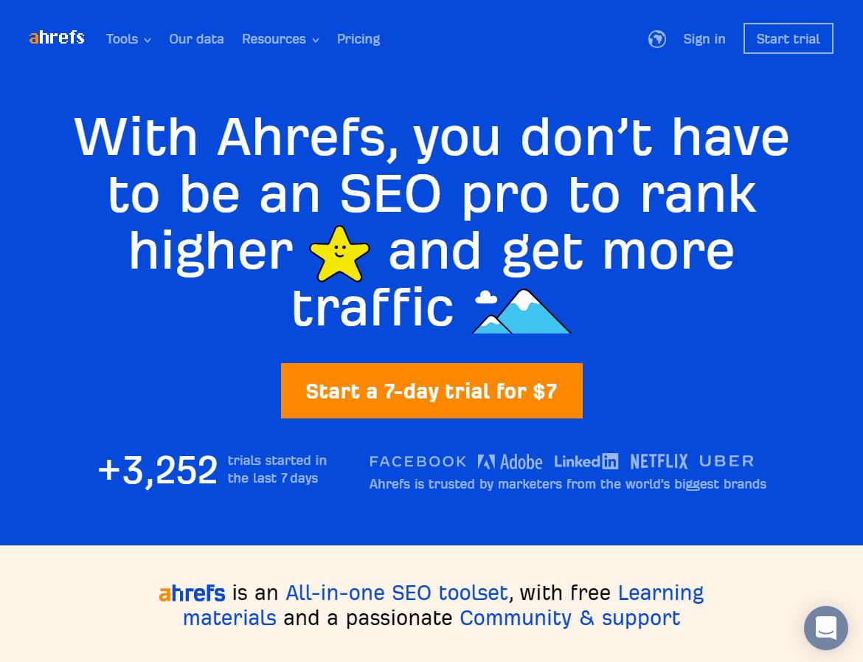 Ahref Homepage