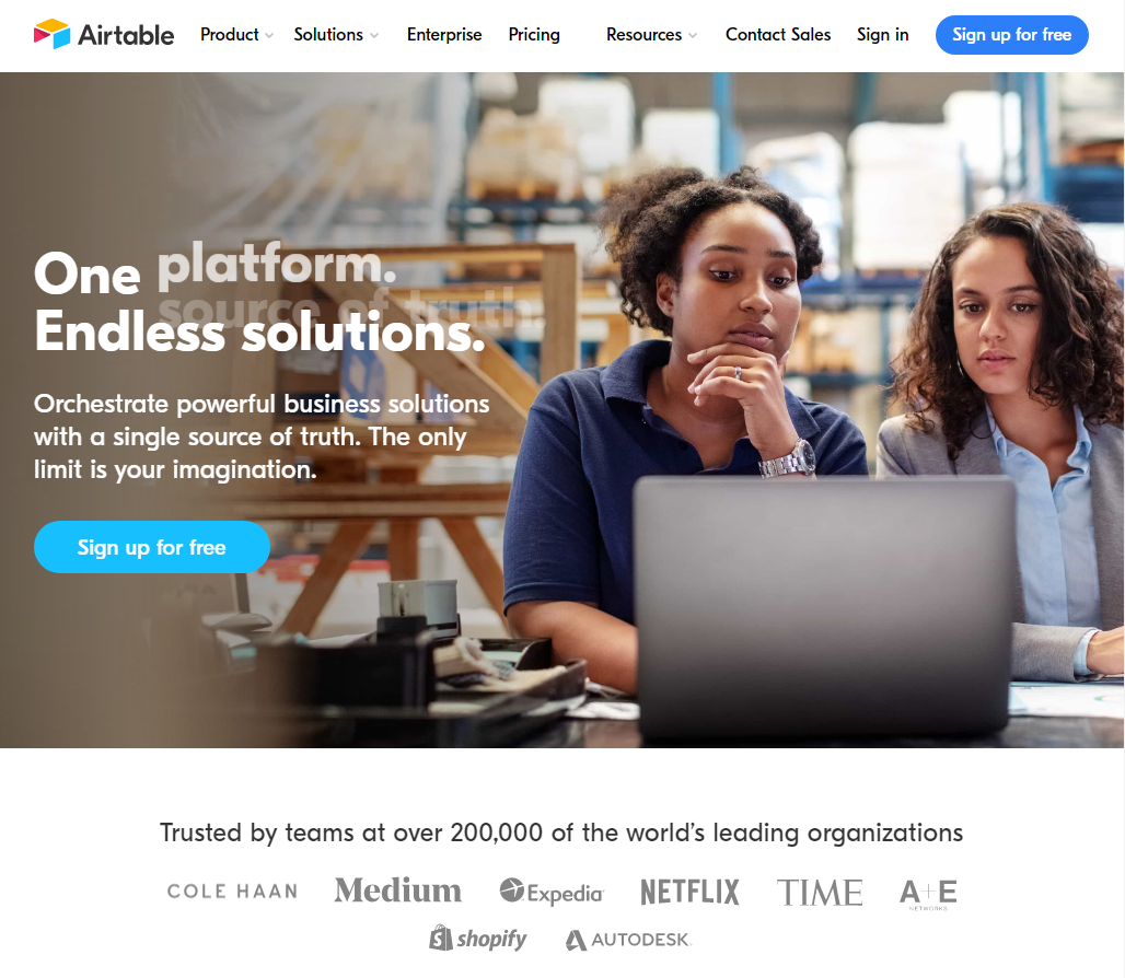 Airtable homepage