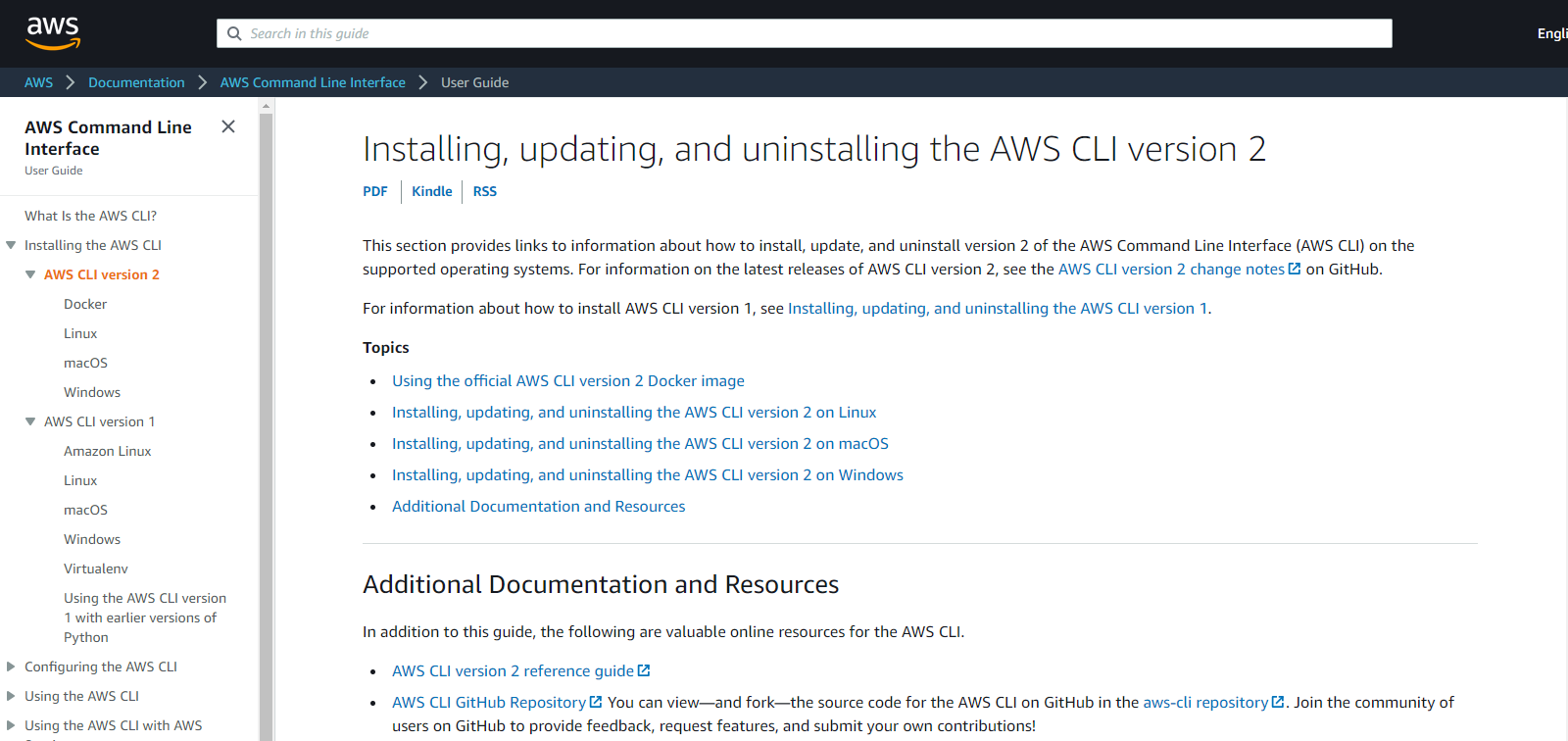 AWS CLI installation instructions