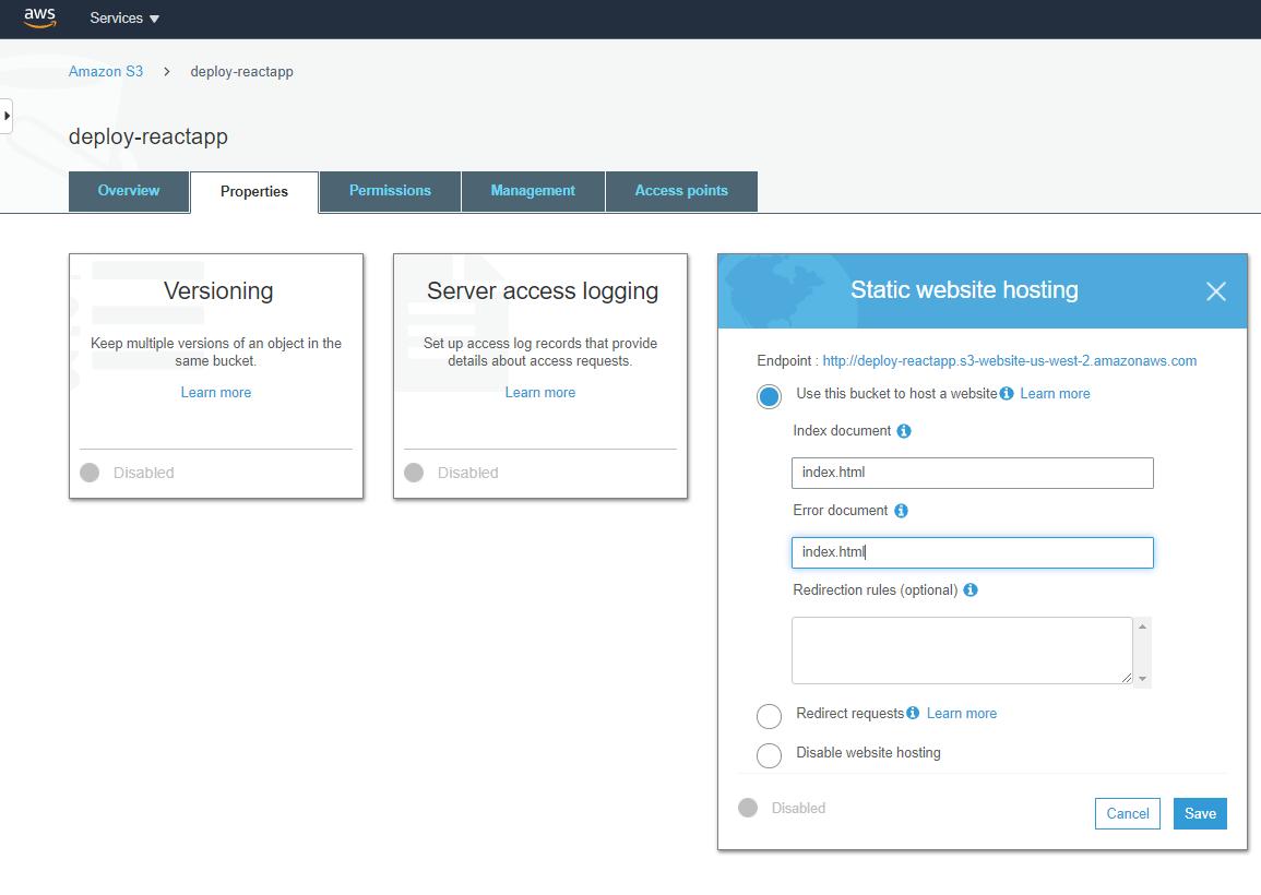 AWS static website hosting