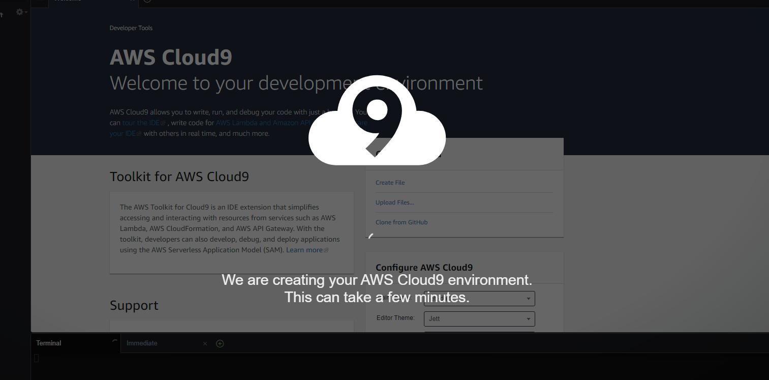 AWS Cloud9 creating AWS env