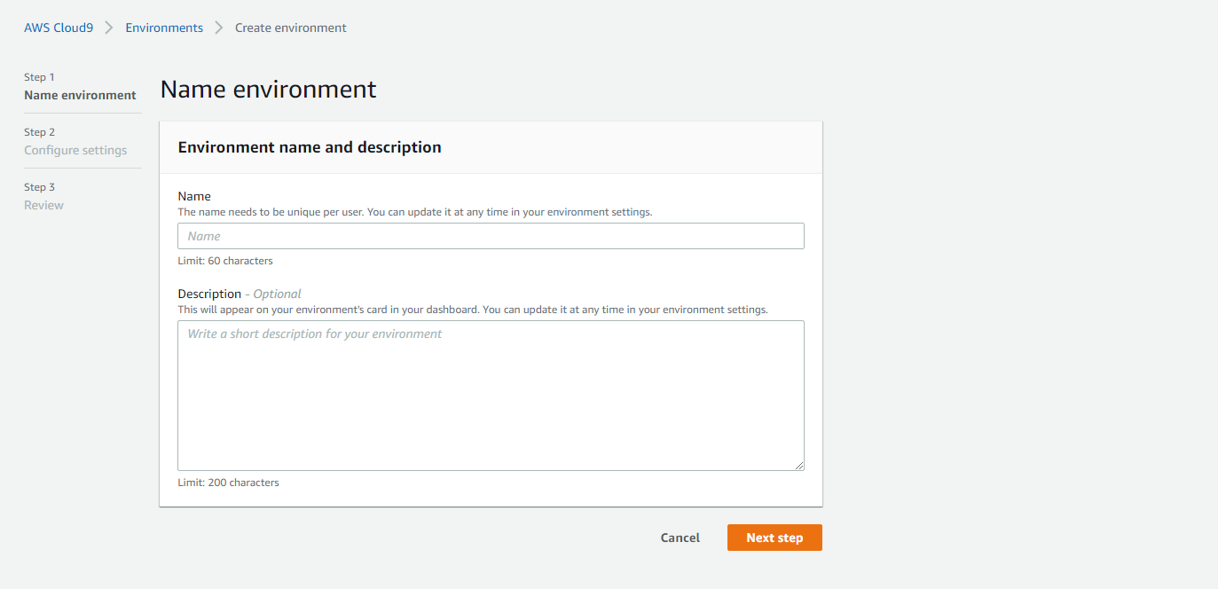 AWS Cloud9 create environment name