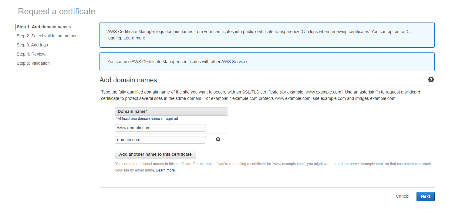 Add domains to AWS certificate