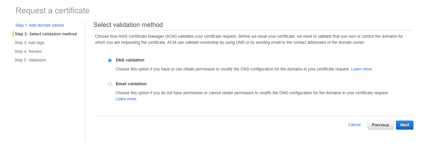 AWS DNS validation
