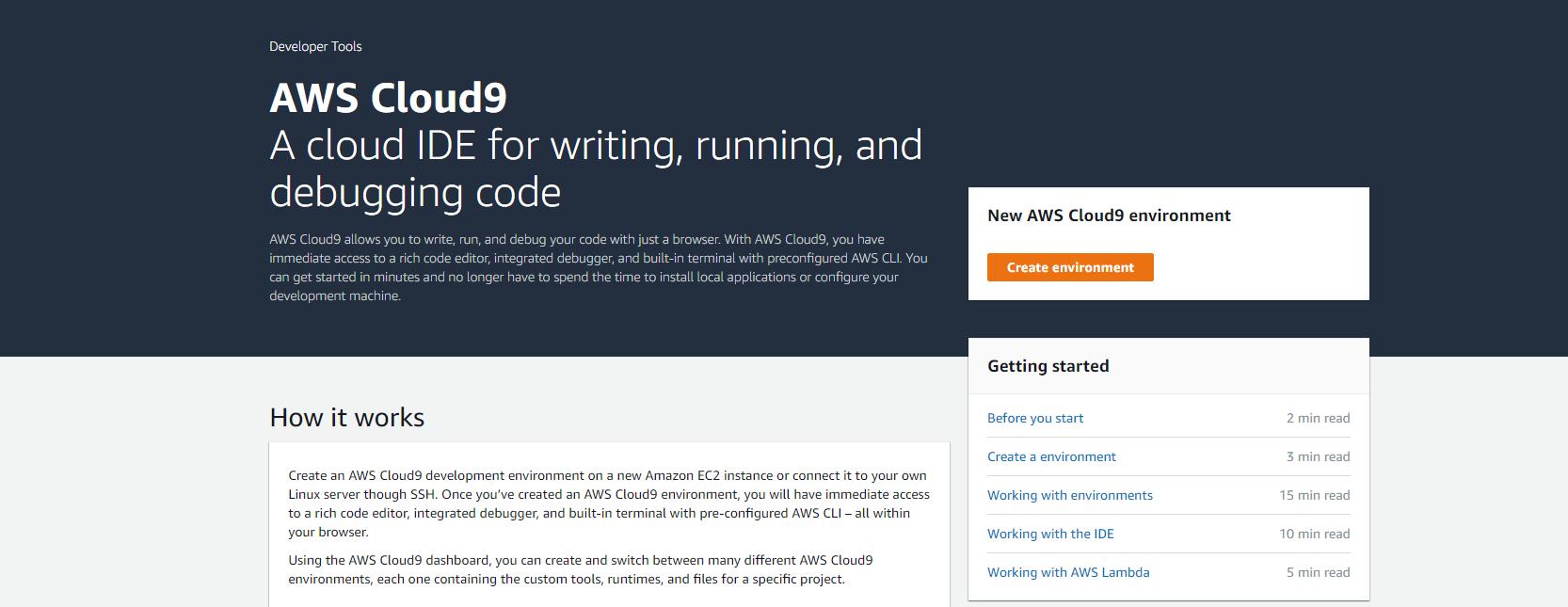 AWS Cloud9 homepage
