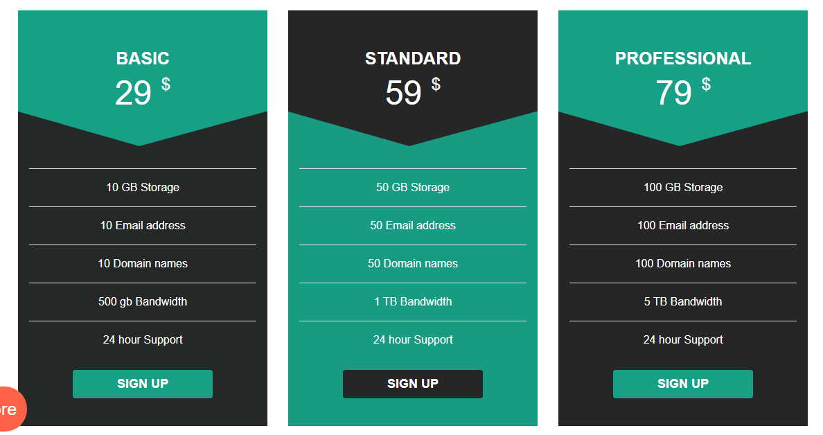 Bootstrap Pricing Table CodePen by Divinector