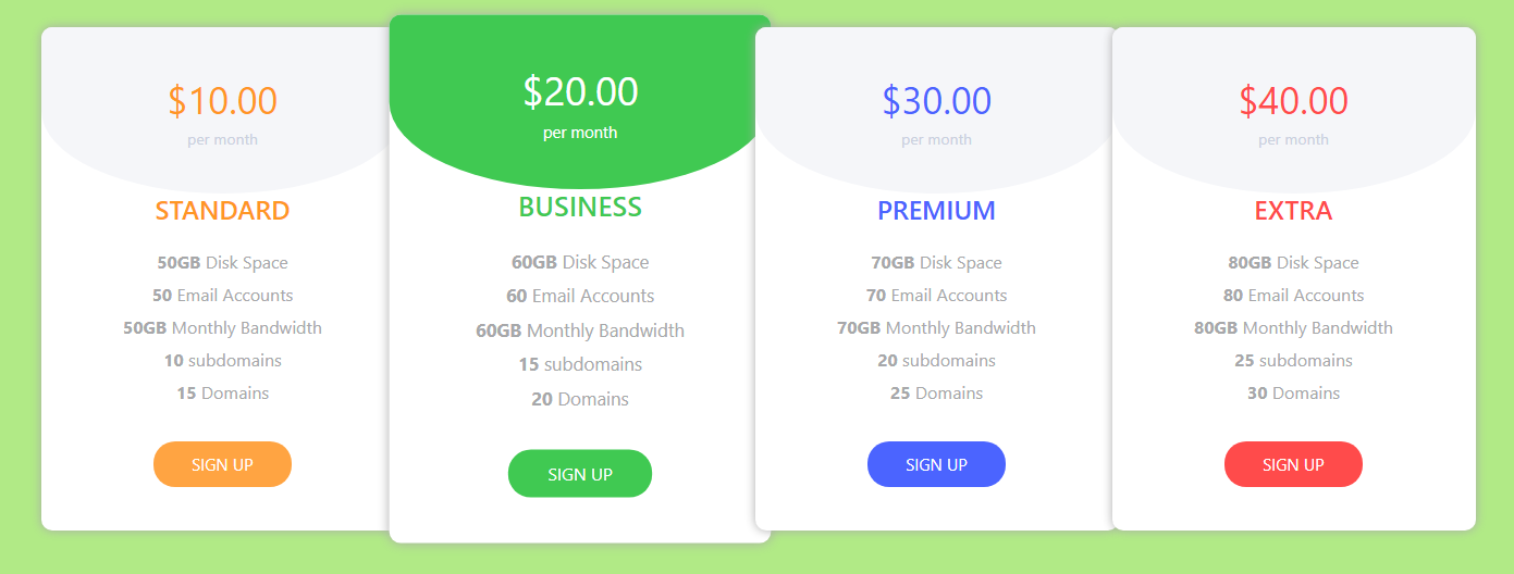 Bootstrap Pricing Table CodePen by GoSnippets