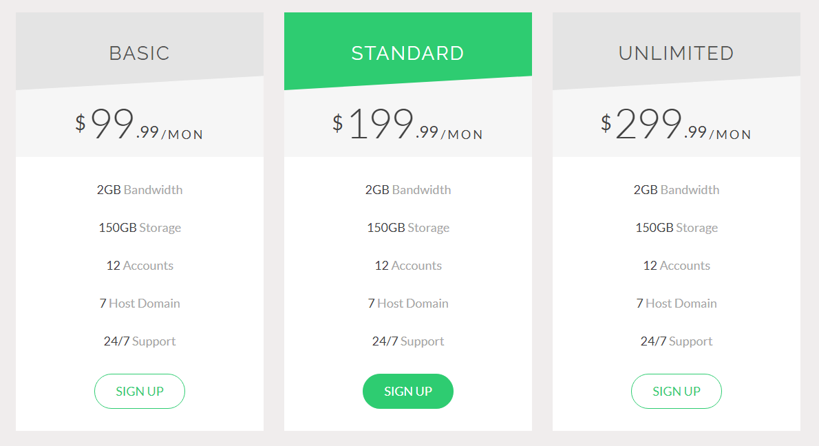 Bootstrap Pricing Table CodePen by Sahar
