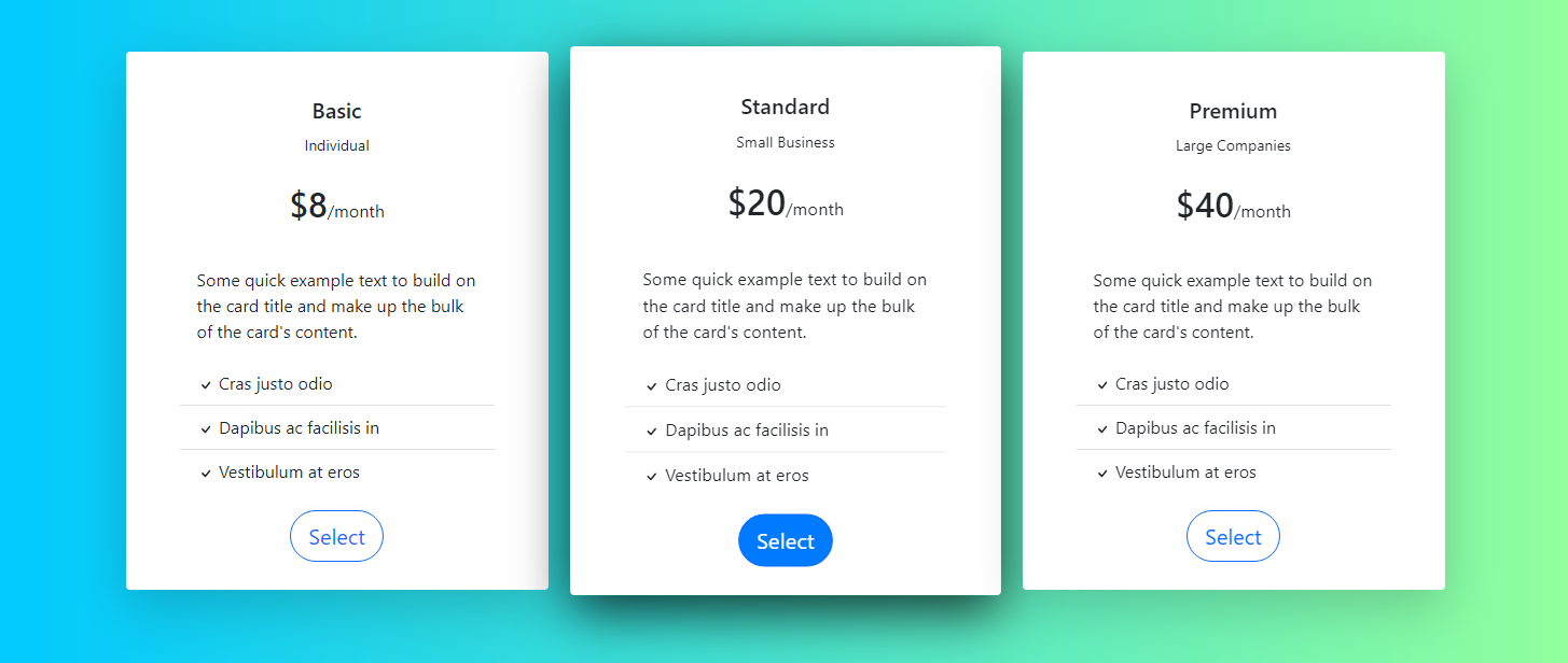 Bootstrap Pricing Table Example #1