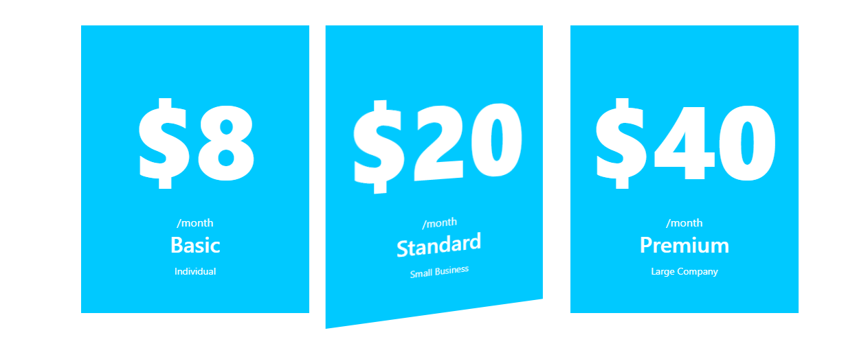 Bootstrap Pricing Table Free Example #2