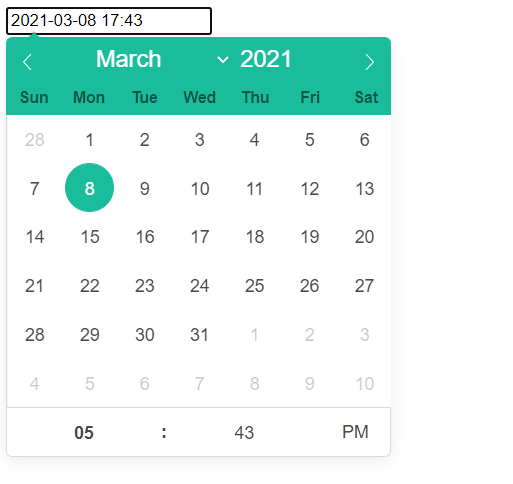React datetime picker calendar and time