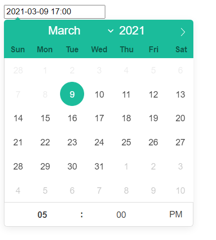 React Date picker maximum time
