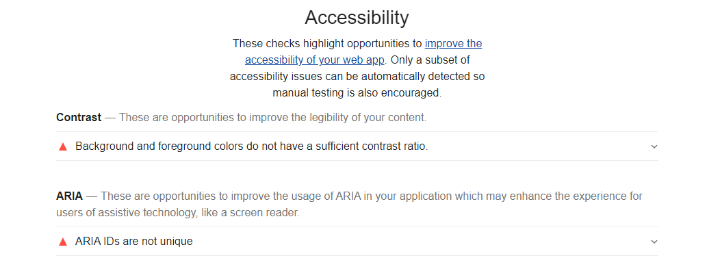 Google Lighthouse Accessibility