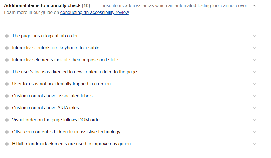 Manually Check accessibility for Google Lighthouse