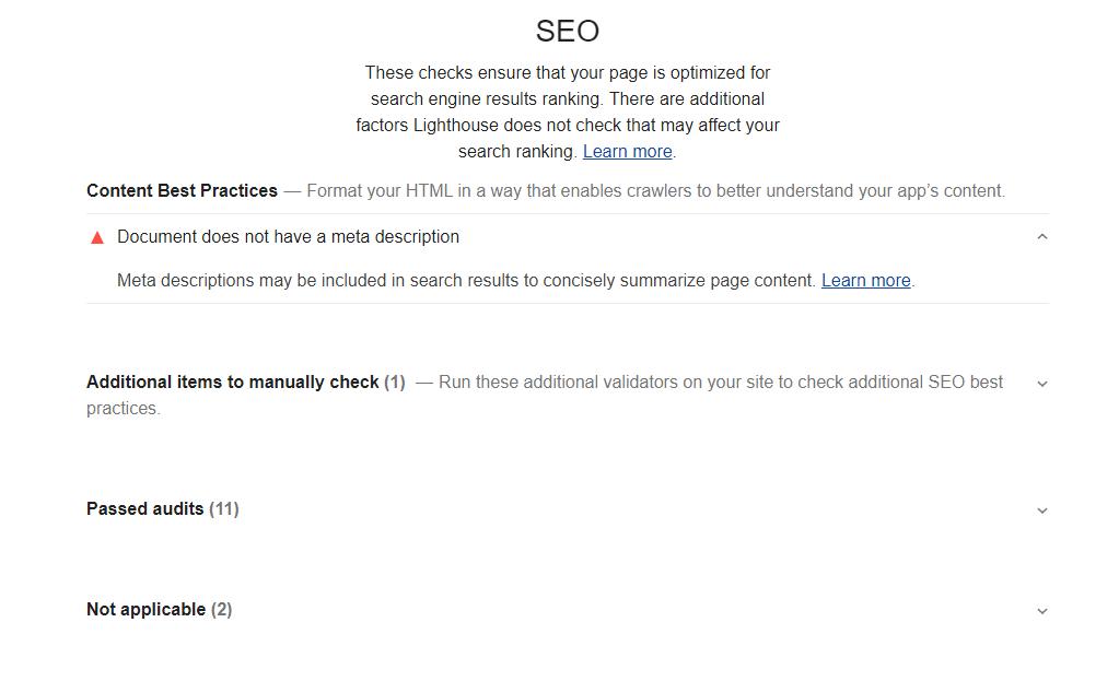 Google Lighthouse SEO