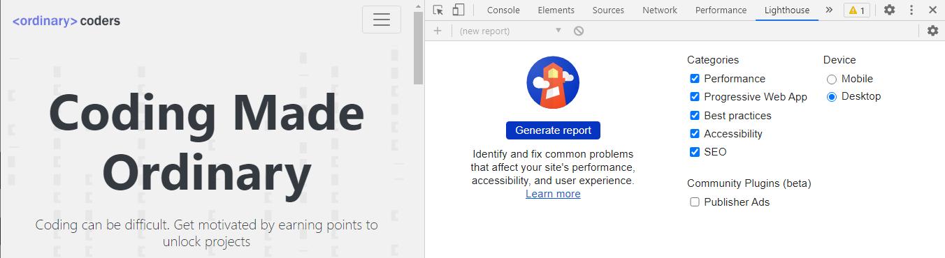 Google Lighthouse via the Chrome DevTools