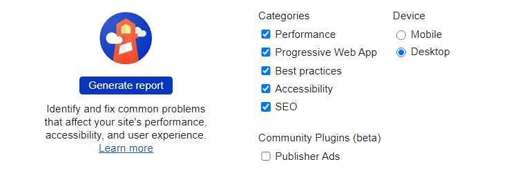 Google Lighthouse Categories and Devices