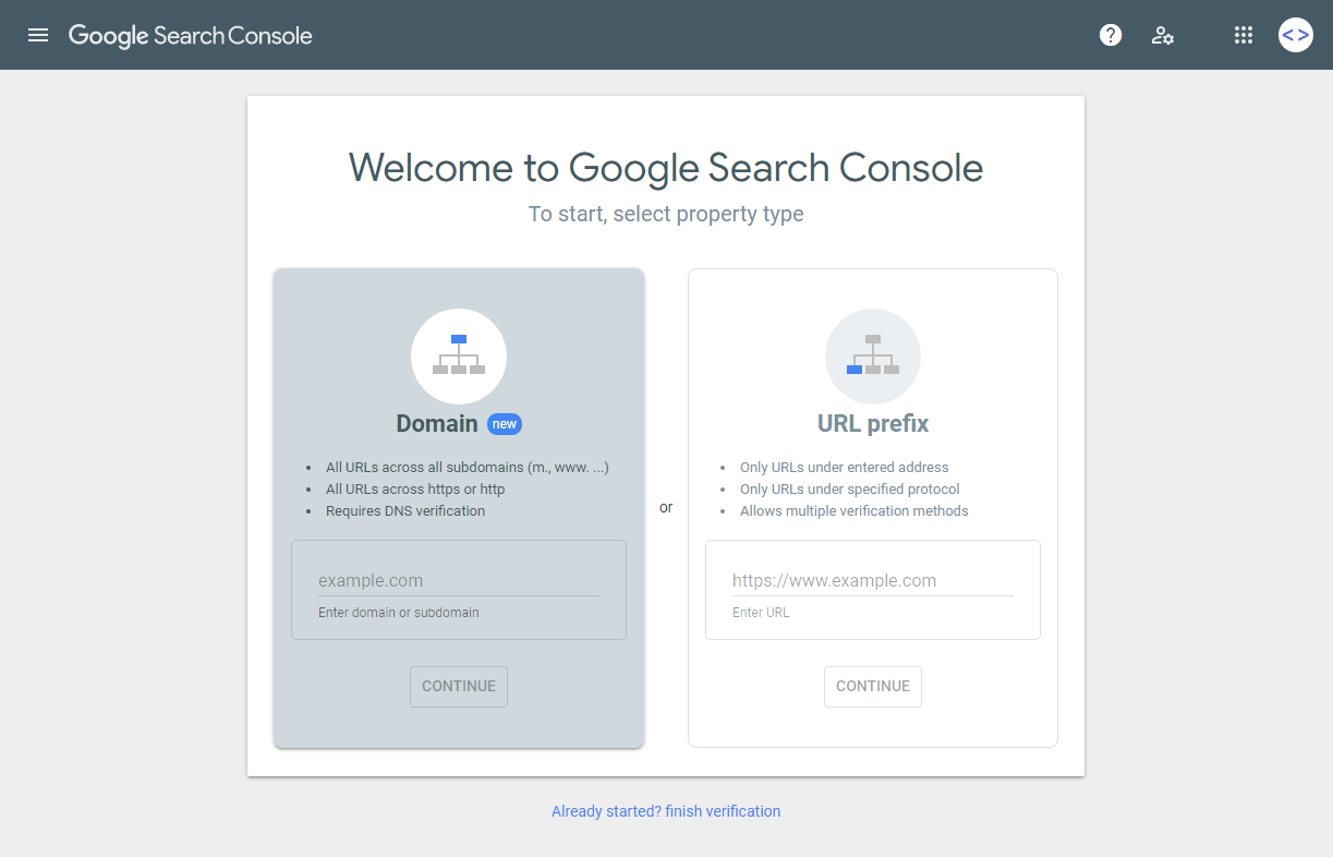 Google Search Console Sign Up Page