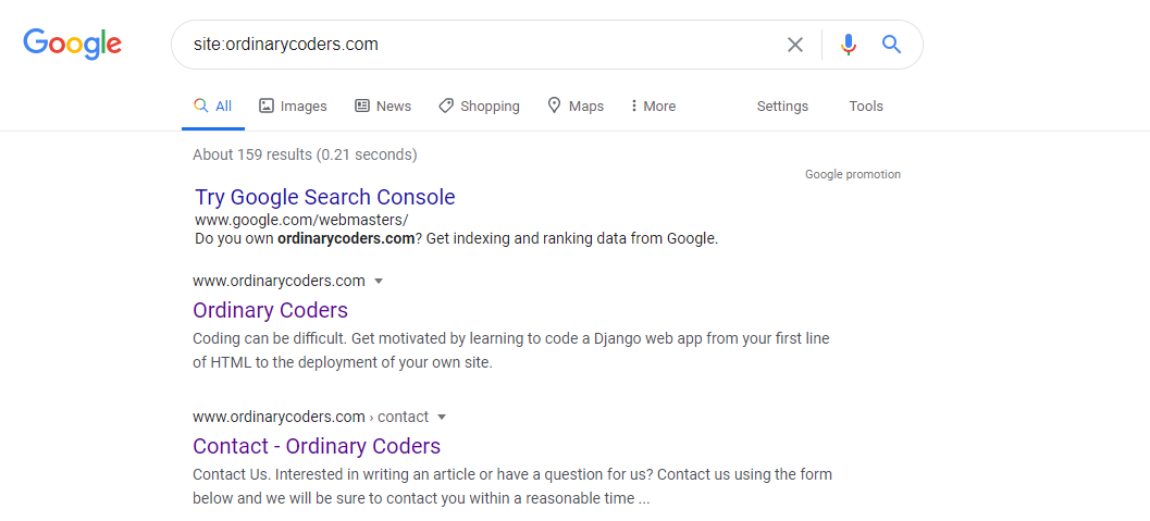 Google site search results for Ordinary Coders