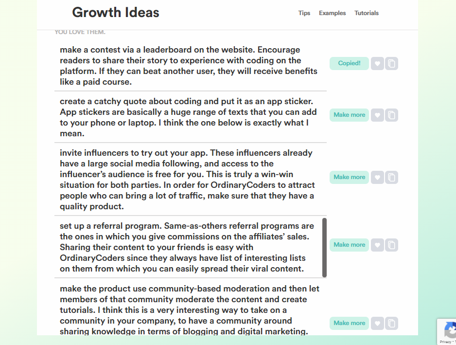 growth idea results
