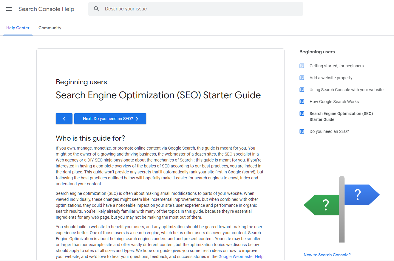Google SEO Started Guide