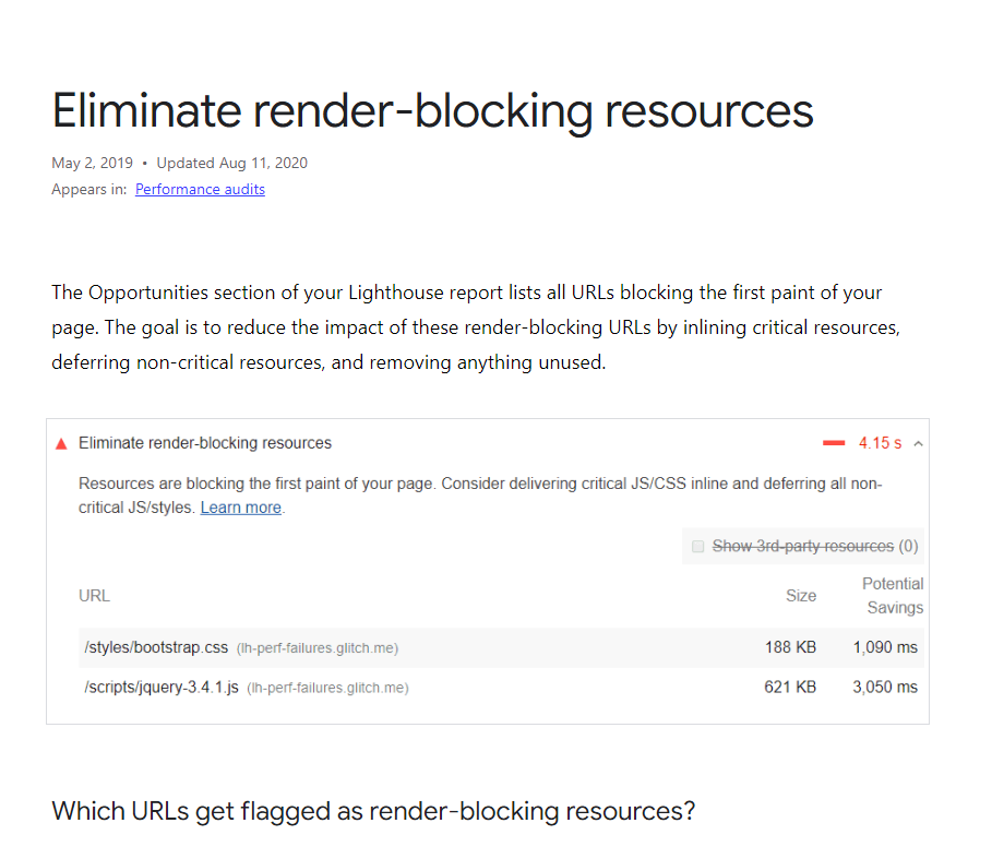 Google eliminate render-blocking article