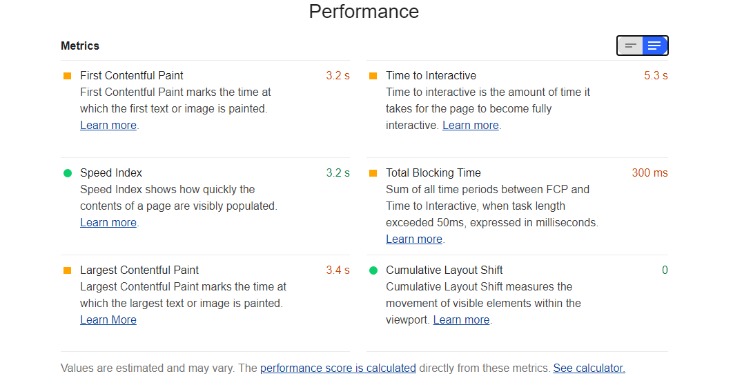 Google performance expanded text