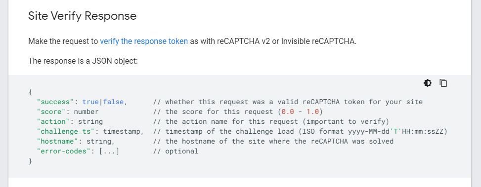 reCAPTCHA JSON object response