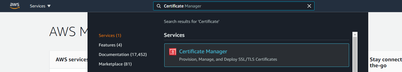 AWS Search Certificate Manager Service