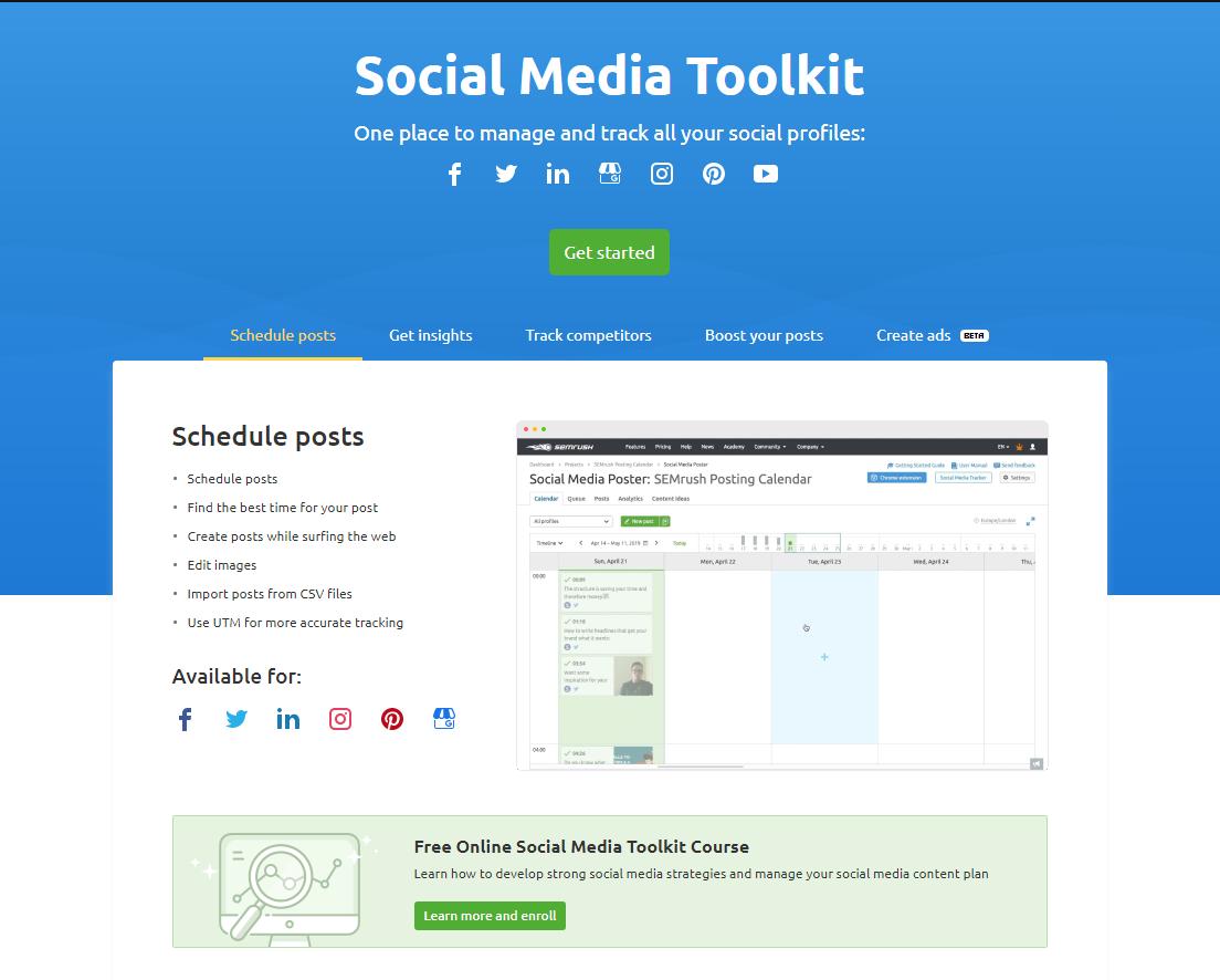 SEMrush Social Media Tool