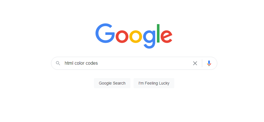 "Google Search the query ""html color codes"""